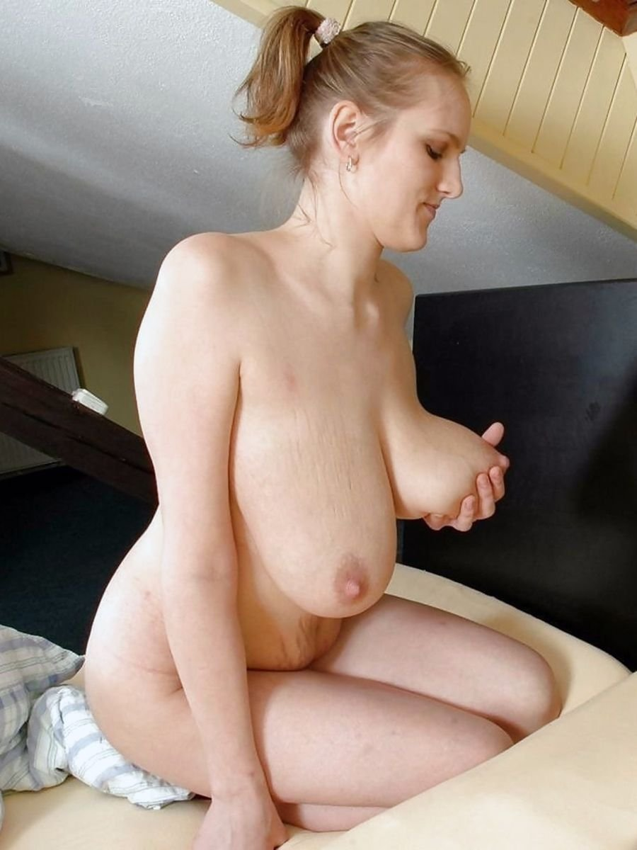 Big saggy tits nude on tractor